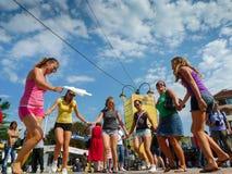 Teenage girls dancing traditional Balkan Dance in Serbia. royalty free stock photo