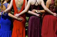 Teenage girls dressed in colorful gowns. Girls in colorful gowns ready for the prom and spring banquet Stock Images
