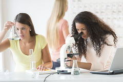 Teenage Girls Experimenting In Chemistry Class Stock Image