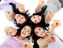 Teenage girls on the floor Royalty Free Stock Image