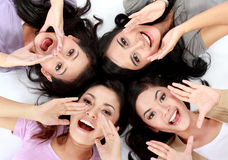 Teenage girls on the floor Royalty Free Stock Photo