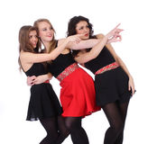 Teenage girls friends point the finger Stock Photography