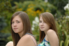 Teenage girls in the garden Royalty Free Stock Photography