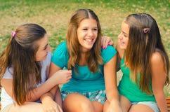 Teenage girls having fun in the park Stock Photos