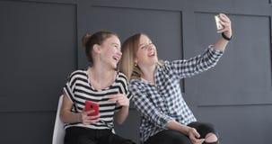 Teenage girls having fun while taking selfie. Teenage girls making funny gestures while taking selfie using mobile phone camera stock footage
