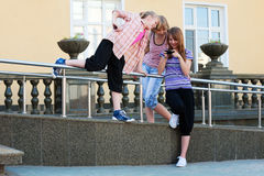 Teenage girls with a mobile phones Royalty Free Stock Photo
