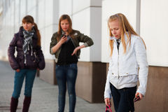 Teenage girls with a mobile phones Royalty Free Stock Photos