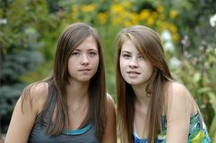 Teenage girls outdoors Royalty Free Stock Photo