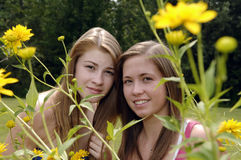 Teenage girls outdoors Stock Photos