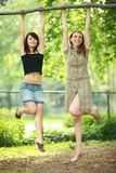 Teenage girls outdoors Royalty Free Stock Photos