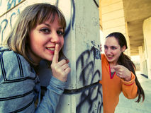 Teenage girls outdoors Royalty Free Stock Photos