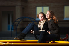 Teenage girls on the playground Royalty Free Stock Photography