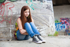 Teenage girls with problems, plenty of copy-space Royalty Free Stock Photography
