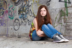 Teenage girls with problems, plenty of copy-space Stock Photography