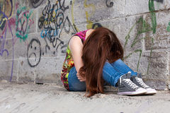 Teenage girls with problems, plenty of copy-space Stock Photos