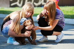 Teenage girls with a puppy Royalty Free Stock Images