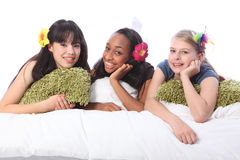 Teenage girls slumber party with hair accessories Royalty Free Stock Photography