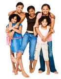 Teenage girls standing with girls. And smiling isolated over white Royalty Free Stock Photos