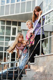 Teenage girls on a steps Royalty Free Stock Photos