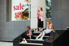 Teenage girls on a steps Stock Image
