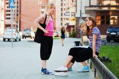 Teenage girls on the street Royalty Free Stock Image