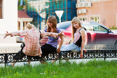 Teenage girls on the street Stock Images