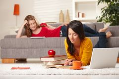 Teenage girls studying at home royalty free stock image