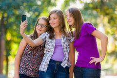 Teenage girls taking selfie Stock Photos