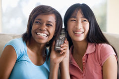 Teenage Girls Talking On Telephone Stock Images