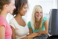 Teenage Girls Using Desktop Computer Royalty Free Stock Photography