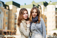 Young girls on a city street Royalty Free Stock Images