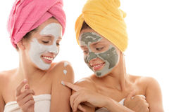 Teenage girls wearing facial mask Stock Image