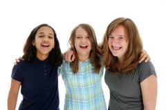 Teenage Girls On White Background Stock Photos