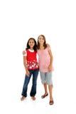 Teenage Girls On White Background Stock Photography
