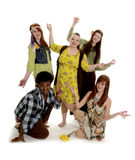 Teenage Group of Peaceful Hippies Stock Photos