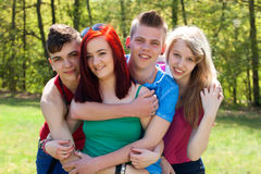 Teenage group is very close Stock Photography
