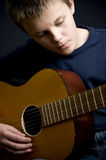Teenage guitar player. Teenage boy, classic guitar player stock photos