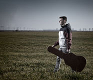 Teenage guitarist outdoor Royalty Free Stock Photography