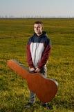 Teenage guitarist outdoor Stock Images