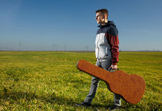 Teenage guitarist outdoor Stock Image