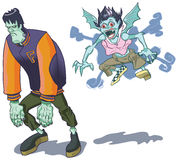 Teenage Halloween Monsters Vector Clip Art. Teenage cartoon versions of a brooding Frankenstein ('s) monster and a spunky girl vampire. Perfect for halloween or vector illustration