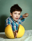 Teenage handsome boy play ninja game Royalty Free Stock Image