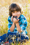 Teenage happy boy playing with rat pet outdoor Royalty Free Stock Photos