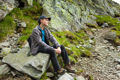 Teenage hiker having a break Stock Images
