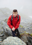 Teenage hiker on mountain Stock Photos