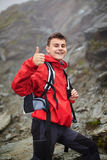 Teenage hiker on mountain Royalty Free Stock Photos