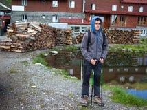 Teenage hiker near the cabin Stock Photos