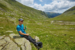 Teenage hiker resting Stock Photos