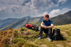 Teenage hiker on a trail Royalty Free Stock Images