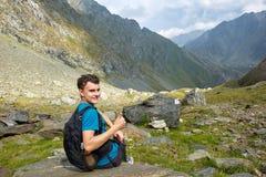 Teenage hiker on a trail Stock Image